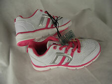 BNWT Little Girl's Sz 8 Rivers Doghouse Brand Pink/White Lace Up Jogger Shoes