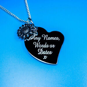 Personalised Heart Sunflower Charm Pendant Necklace Gift Names Words Engraving