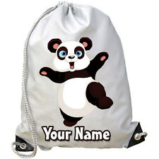PERSONALISED PANDA GYM / PE / DANCE / SWIMMING BAG -GREAT KIDS GIFT & NAMED TOO