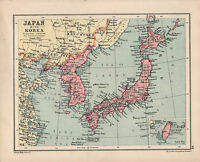 1934 Mapa ~ Japón Y Corea ~ Taiwan Honshu Yezo Hokkaido