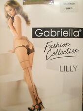 GABRIELLA LILLY LEAF, BACKSEAM DOT PANTYHOSE TIGHTS BLACK & BEIGE 3 SIZES 20 DEN