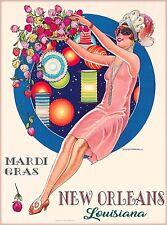 New Orleans Louisiana Mardi Gras United States Travel Advertisement Poster Print