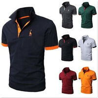 Mens Slim Fit Short Sleeve Polo Shirt Tops Casual Formal Work T-shirts Tee M-2XL