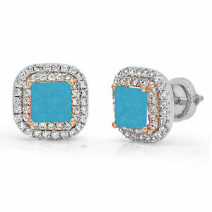 2.52 ct Princess Halo Studs Turquoise 18k White Rose Gold Earrings Screw back