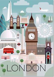 London England Big Ben Vintage Travel Art Deco Poster Reproduction