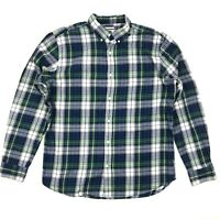 Old Navy Button Front Shirt Men's Size Large Blue Plaid Long Sleeve Cotton