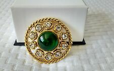 Chanel Rare Vintage Glass/ Gripoix Cabochon & Crystal Brooch