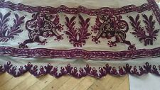 SHABBY antique VTG VELVET APPLIQUE net lace curtain PANEl VICTORIAN? FRENCH?