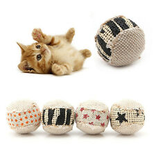 4pcs Interactive Puppy Cat Ball Toys Squeaky Squeaker Sound Canvas for Cat Play