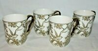 222 Fifth Adelaide White / Gold Porcelain Floral Coffee Mugs Set of Four New