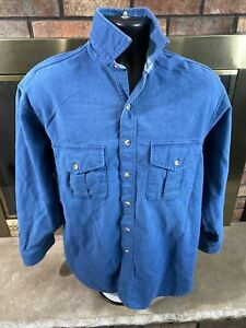 Vintage Eddie Bauer Blue Hunting Canvas Long Sleeve Button Up Shirt Mens Size XL