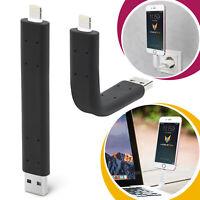 Lade Kabel Ladekabel Stick Biegbar 10cm Daten Halter für Apple iPhone schwarz