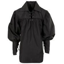 Mittelalter Herren Kostüm Hemd Schnürhemd Gothic Ritter Pirat schwarz Gr XL #655