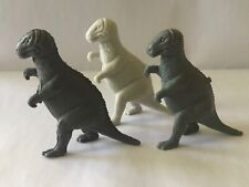 3 Vintage Mpc Dinosaur Allosaurus Plastic Toy Figure Gray Excellent Condition!