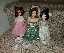 "3 Dolls 50s 60s In Party Dresses,Eyes Blink, Hard Plastic. 7"" + tea set j92"