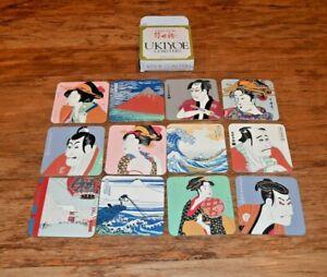 Ukiyoe Coasters Japanese Fine Art Set of 12 Utamaro Sharaku Hiroshige FREEPOST