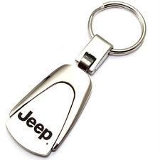 Genuine Jeep Logo Metal Chrome Tear Drop Key Chain Ring Fob