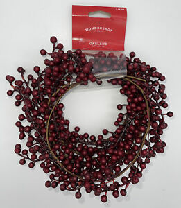 Garland Vine 6Ft. Flexible Artificial Red and Burgundy Holly Berry Wondershop