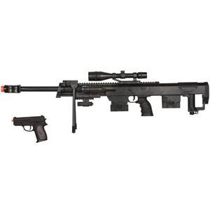 AIRSOFT .50-CAL BOLT ACTION SPRING SNIPER RIFLE GUN w/ PISTOL SIDEARM 6mm BB BBs