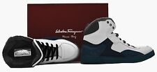 SALVATORE FERRAGAMO Leather, Suede, & Fur High-Top Sneakers, 9D ITALY $760