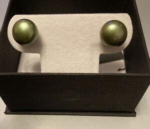 Honora Green Pearl Large Sterling Silver Stud Earrings Happy Backs