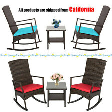 3PCS Rattan Wicker Cushioned Lounge Rocking Chair w/ Table Outdoor Furniture Set
