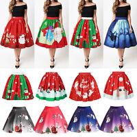 Women Christmas High Waist Skirt Ladies XMAS Santa Pleated Tutu Dress Pettiskirt