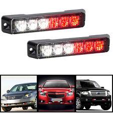 2x 6 LED Car Emergency Warning Beacon Flash Strobe Light Bar Grille Red & White