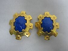 "VINTAGE KARL LAGERFELD ""KL"" HAUTE COUTURE BOUE CABOCHON CLIP ON EARRINGS ~1 3/4"""