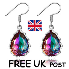 FACETED RAINBOW MYSTIC TOPAZ 925 STERLING SILVER DROP DANGLE EARRINGS