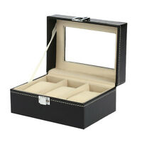 3 Slots Leather Watch Display Box Wristwatch Storage Holder Organizer Case B0D2