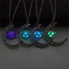 Leuchtendes Mond Medaillon Amulette Kette + Anhänger Gothic, Cossplay, Schmuck