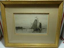 "14 x 12 Framed Nautical Engraving Print H. Petersen ""FISHERBOOTE BEI VLISSINGEN"""