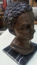 "Julius Caesar ""Head Bust"" ,Large Hand Cast Bronze Sculpture 13"""