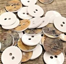 """Lot 20 24L 15mm 1/2"""" Natural White Paint Real Pearl Shell Button Crafts Sewing"""