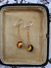 1970s MILLEFIORI BEADS EARRINGS 14K gilt links to match retro vintage necklaces
