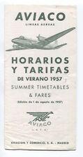 AVIACO TIMETABLE SUMMER 1957 HORARIOS SPAIN