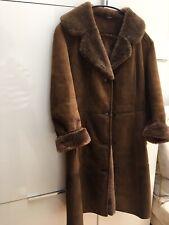 """VINTAGE 70's MORLANDS SHEEPSKIN SUEDE COAT FULL LENGTH NUT BROWN 38"""" UK 8/10/12"""