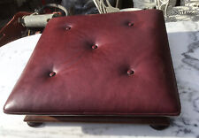 Victorian Antique Buttoned Burgundy Leather & Mahogony Footstool Chesterfield