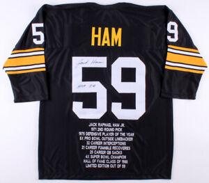 "Jack Ham Signed Pittsburgh Steelers Career Stat Jersey Inscribed ""HOF 88"" (TSE)"