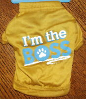 Dog Printed Knit T-Shirt and 2 Hairbows - I'm THE BOSS Novelty Pet Tee - Size XS