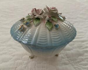 Vintage Lidded Trinket Dish Japan Luster Blue Roses Length 10 cm EUC