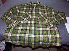 Vintage BIG MAC Penney's Flannel Shirt L Large 16 16 1/2  Green Plaid Long BF