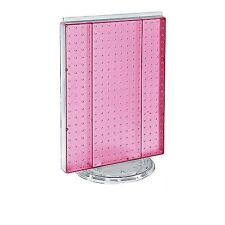 """16"""" W X 20"""" H Pink Counter Top Rotating Pegboard Tower Display Unit"""