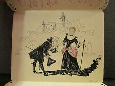 menu 1899 fer a cheval myosotis signé francisque pomat lyon illustré a l'encre