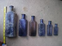 100+ Year Old WINDOW SET of 6 Antique Amethyst Mold Blown Medicine Bottles
