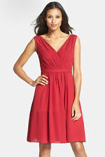 NWT WOMEN Jenny Yoo Collection Cori Gathered Chiffon Cranberry Dress size 0 $250