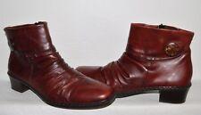 RIEKER KENDRA SZ 10 N 42 RED BURGUNDY LEATHER LOW HEEL ANKLE BOOTS BOOTIES