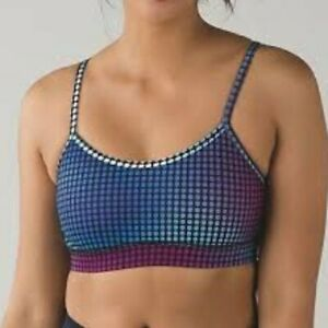 Lululemon Flow Y Sports Bra IV Cosmic Dots Womens Size 2 Purple Blue Racerback