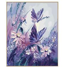 Landscape Oil Painting Abstract Picture By Number Purple Butterfly Art On Canvas